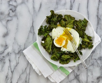 Roasted Kale and Soft Boiled Eggs