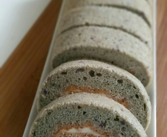 Purple Sweet Potato Roll Cake with Vanilla Greek Yoghurt Filling
