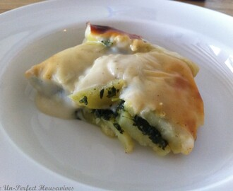 Potato & Spinach Gratin topped with homemade Béchamel
