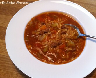 "Tunisian Tomato, Vegetable & Orzo Soup, ""Chorbet Lsen 3asfour"""