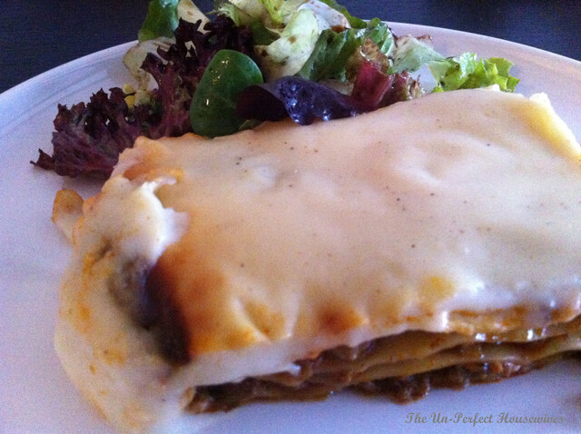 Ground Beef & Mushroom Lasagna topped with homemade Bechamel sauce