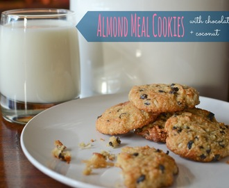 .almond meal cookies with chocolate chips + coconut.
