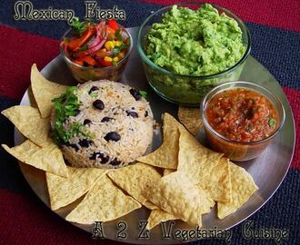 Mexican Fiesta - Beans & Rice With Vegetable Stir Fry, Guacamole & Fresh Tomato Salsa