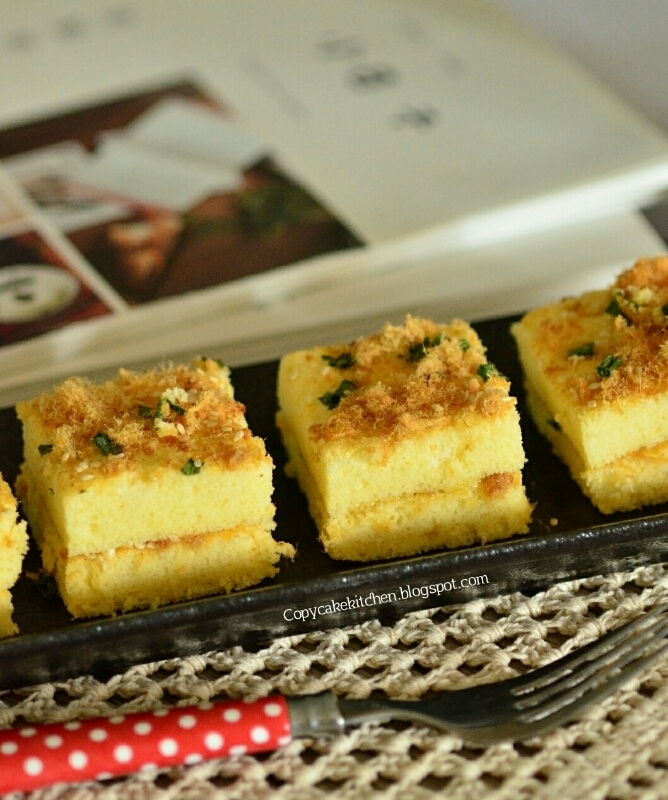 Chicken Floss Chiffon Layer Cake 青葱肉丝蛋糕
