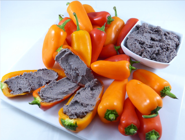 Healthy Snacks: Stepaniak's Black Bean Hummus Stuffed Baby Bell Peppers (vegan&gluten-free)