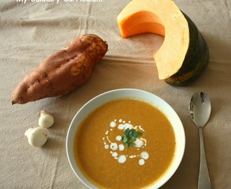 Soupe veloutée aux champignons, potiron et patate douce (Velvety soup with mushrooms, pumpkin and sweet potato)