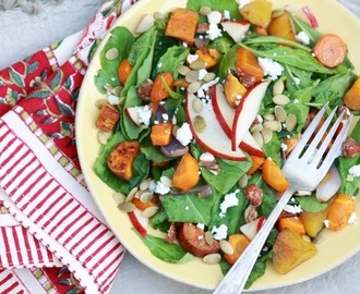 Roasted Root Veggie Salad with Apple Cider Vinaigrette…and a granola giveaway!