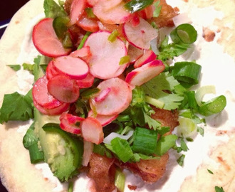 Beer Battered Fish Tacos with Radish and Jalapeño Salsa