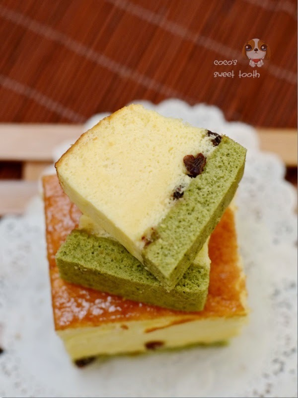 Green Tea Cheddar Cheese Cake,  with a touch of green