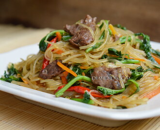 Tumis Soun Ala Jap Chae, Korean Stir-fried Glass Noodles