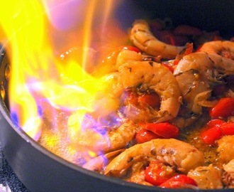 FLAMING Shrimp (Gambas Flambees with Sambuca via A KITCHEN IN FRANCE) - Recipe and Cookbook Review