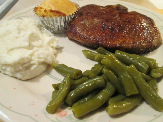 Cumin Spiced Monster Pork Chop w/ Mashed Potatoes, Cut Green Beans, Baked Corn Muffins