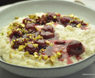 A Classic with a Twist - Vanilla Coconut Rice Pudding with Spiced Sour Cherries