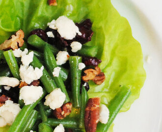 Haricots Vert Salad with Blue Cheese, Pecans and Cranberries