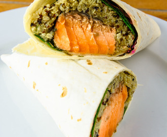 Sunday and Monday sweet chili salmon quinoa wraps