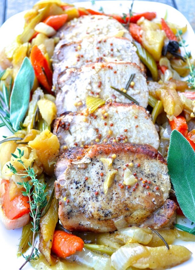 Roast Pork Loin with Apple Cider Mustard Sauce
