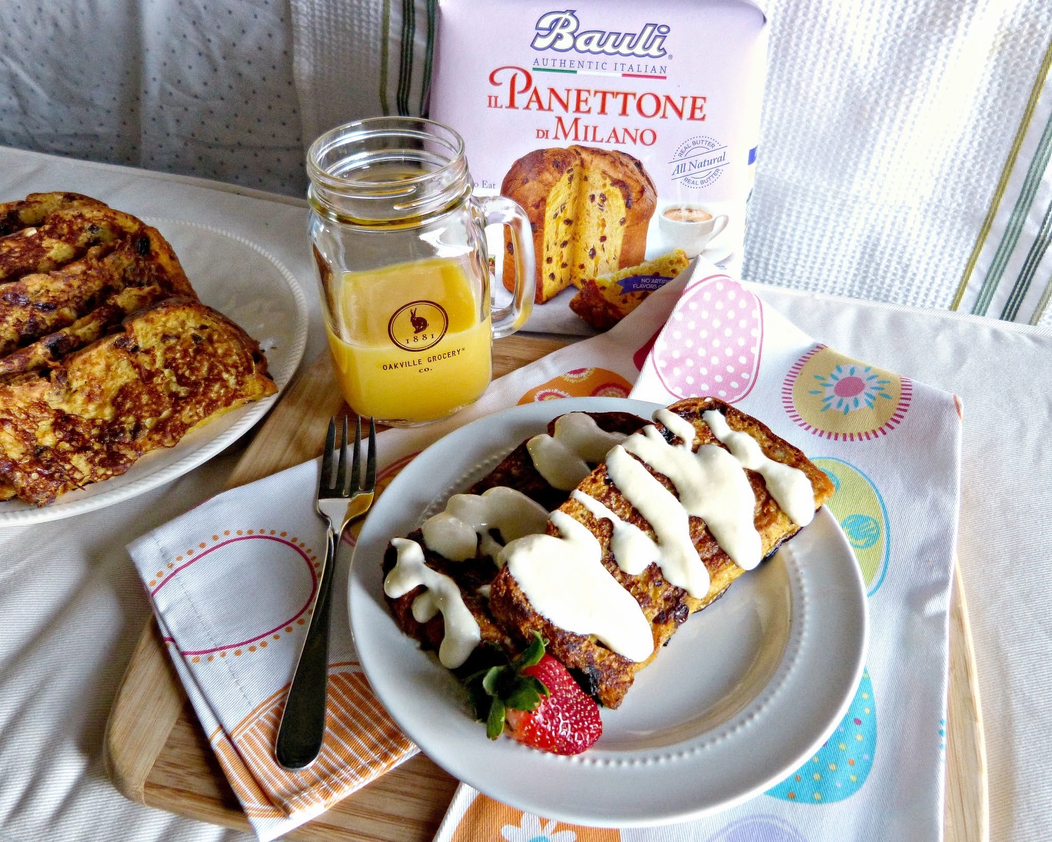 Panettone French Toast with Orange Mascarpone Glaze