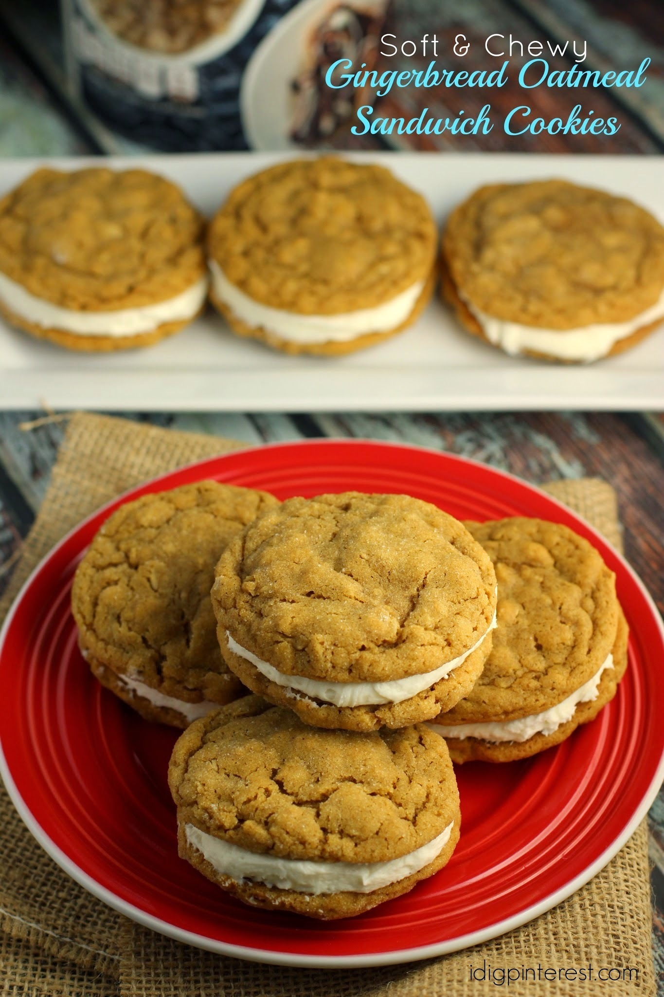Soft & Chewy Gingerbread Oatmeal Sandwich Cookie Recipe