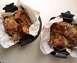 Baked Artichokes with Brown Rice & Spinach