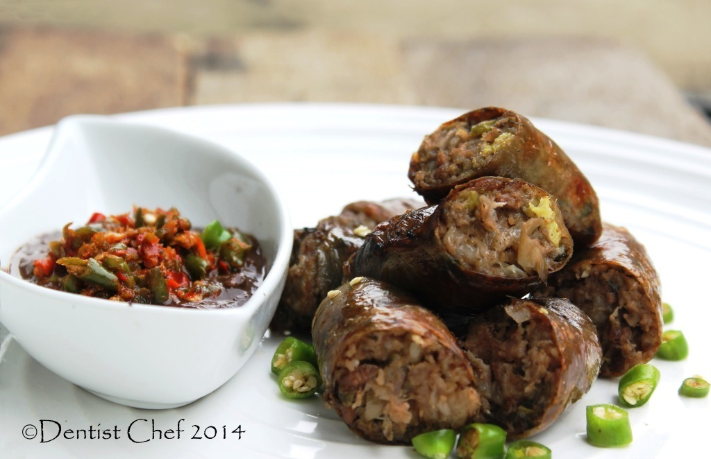 Resep Kidu-Kidu Sosis Batak Karo Saus Gota (Grilled Pig Intestine Casing Sausage with Spicy Blood Sauce)