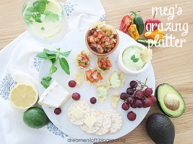 Grazing Platter (tomato salsa and avocado yogurt dip recipes)