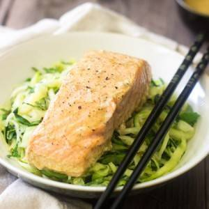 Zucchini Noodles with Coconut Curry Salmon {Gluten Free, Low Carb, High Protein + Super Simple}