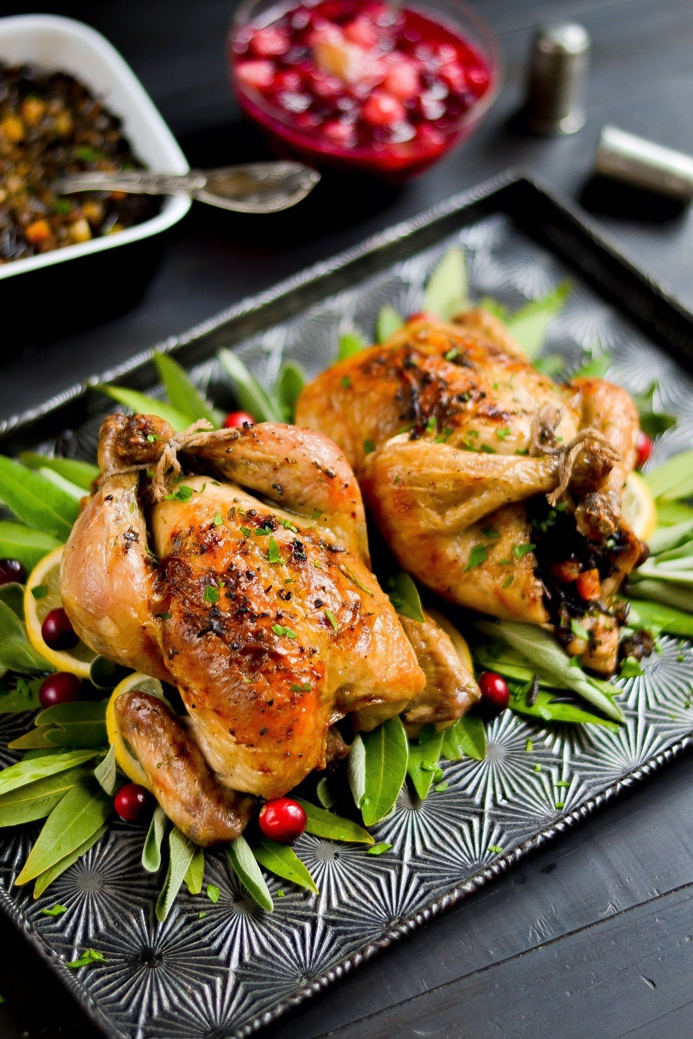 Roasted Cornish Hens with Wild Rice & Butternut Squash Stuffing & Maple-Pear Cranberry Sauce