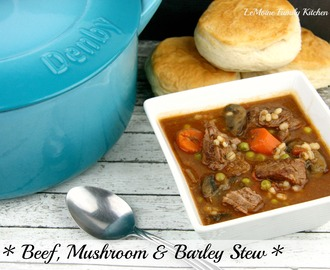 Beef, Mushroom & Barley Stew {Plus my new Denby Cast Iron Casserole}