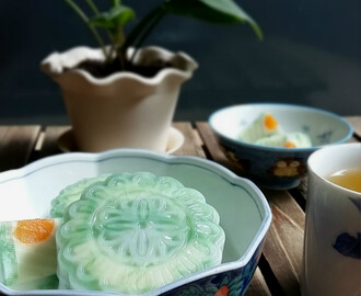 煎哆班兰莲蓉燕菜月饼 Cendol with Pandan Lotus Paste Jelly Mooncakes