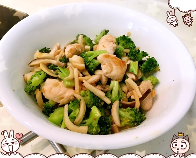 杏鲍菇西兰花炒鸡肉 Chicken with King Oyster Mushroom and Broccoli
