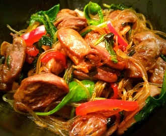 Chili Oil Noodles with Chicken Hearts