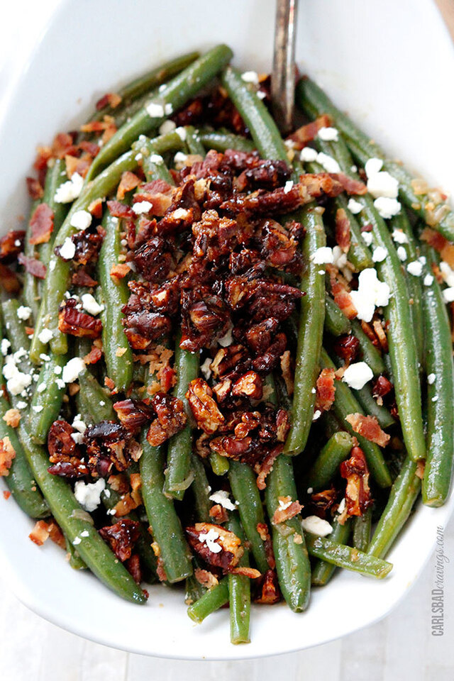 Maple Green Beans with Pecans and Bacon