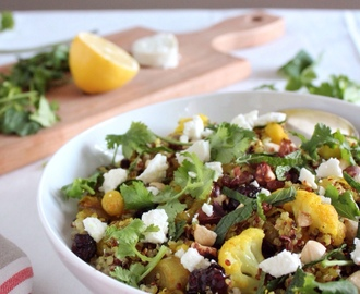 Warm Quinoa Turmeric Cauliflower Salad with Cranberries, Hazelnuts and Goat Cheese 藜麥薑黃花椰菜、蔓越莓與榛果沙拉