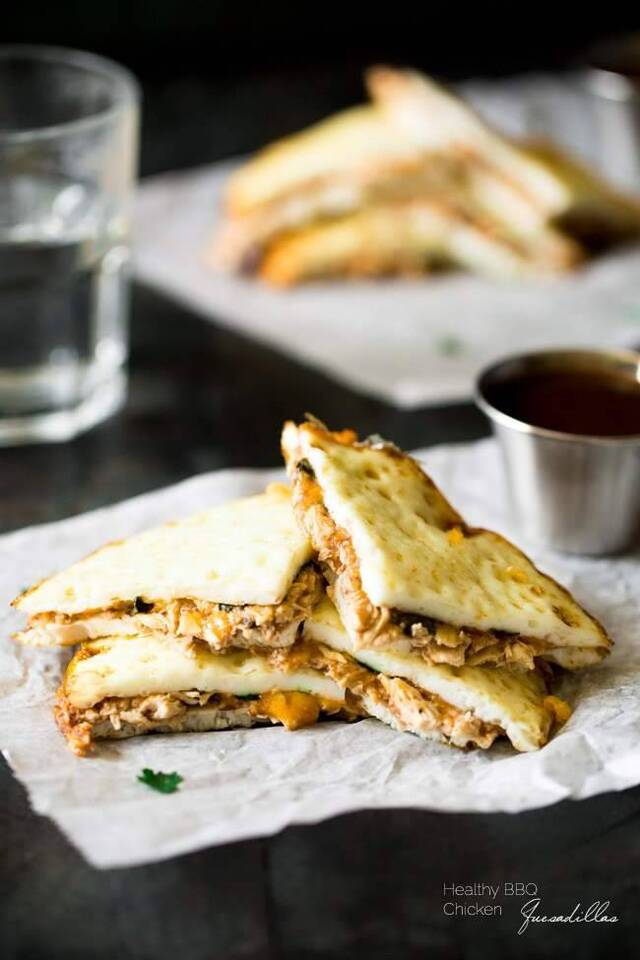 Healthy BBQ Chicken Quesadillas {Gluten Free, Low Fat, Low Calorie, High Protein + Super Simple}
