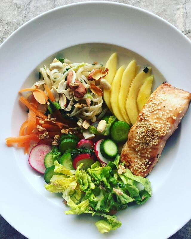 Salmon Poke Bowl with Miso Ginger Dressing