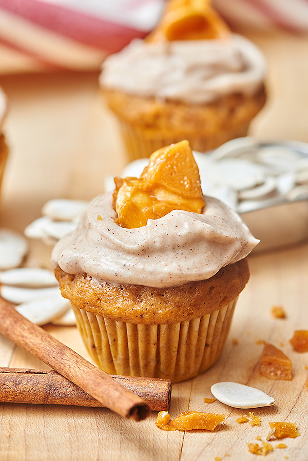 Pumpkin Cupcakes with Cinnamon Cream Cheese Frosting and Pumpkin Seed Brittle