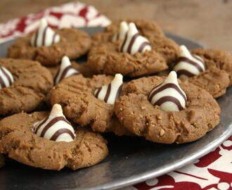 Peanut Butter Molasses Cookies dressed up for Christmas