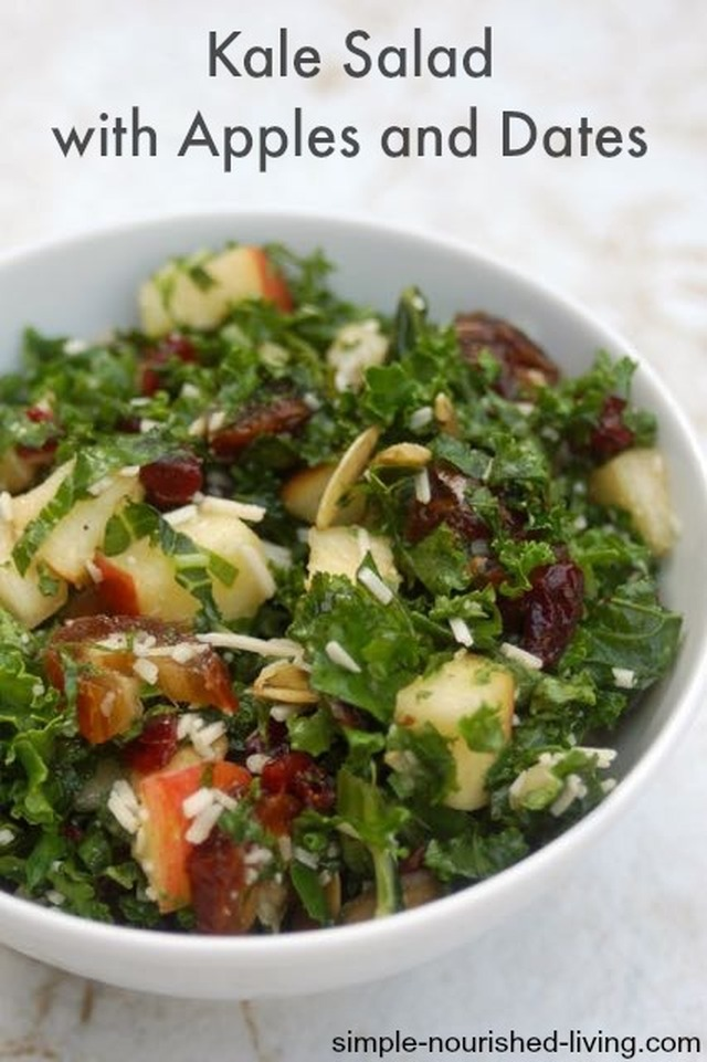 Kale Salad with Apples and Dates