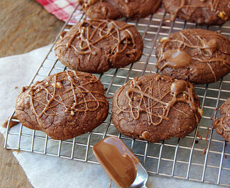 Devil's double choc malt cookies