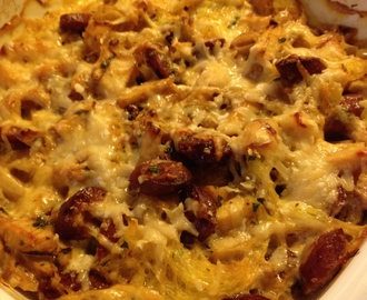 Spaghetti Squash Gratin with Apples and Sausage