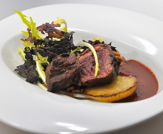 Onglet d'Angus, betteraves, barbe de capucin