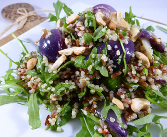 Quinoa & Red Rice Salad with Cashew Nuts & Citrus Ginger Dressing (vegan & gluten-free)