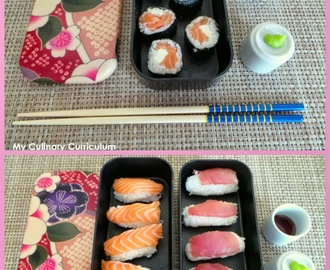 Sushis et makis au saumon et au thon (Sushi and maki with salmon and tuna)