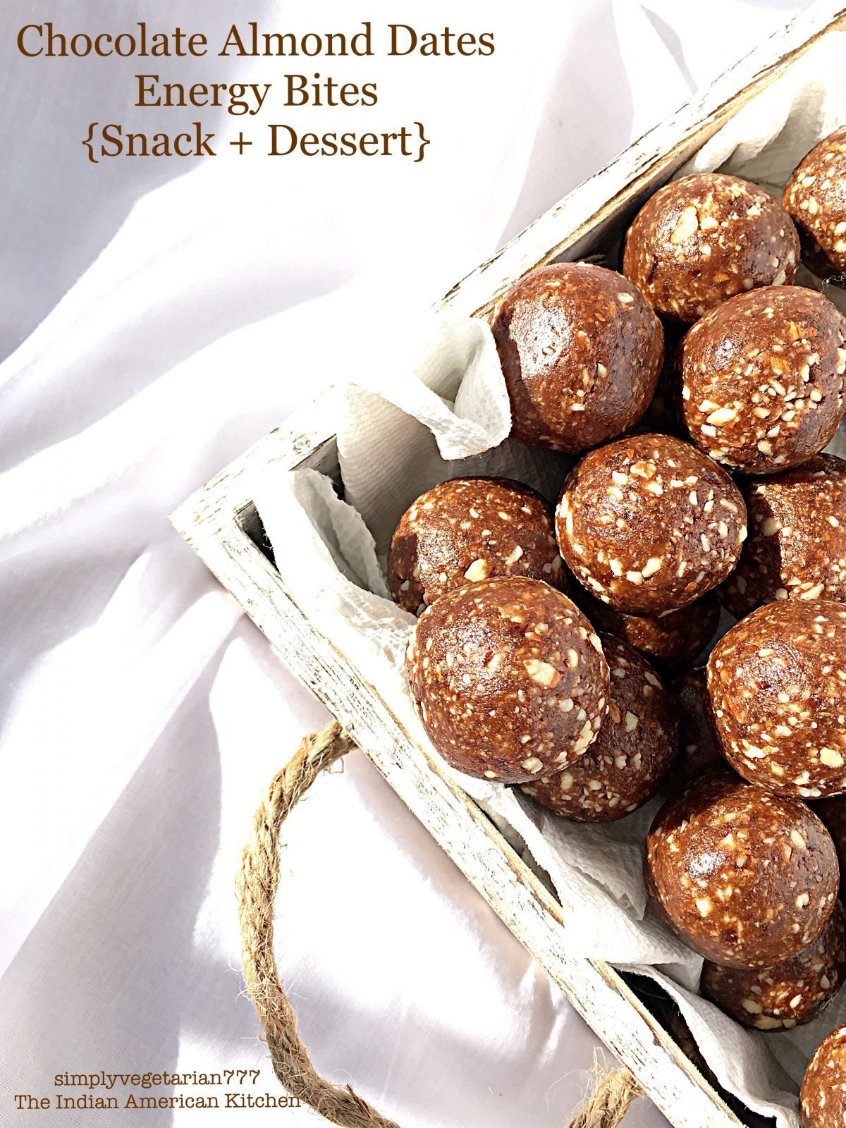 Easy Quick Chocolate Almond Dates Energy Bites – 4 Ingredients Recipe
