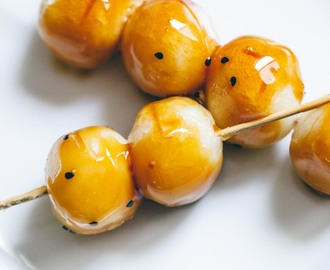Virtual Vegan Potluck: Mitarashi Dango (Sweet Glazed Japanese Skewered Rice Dumplings)
