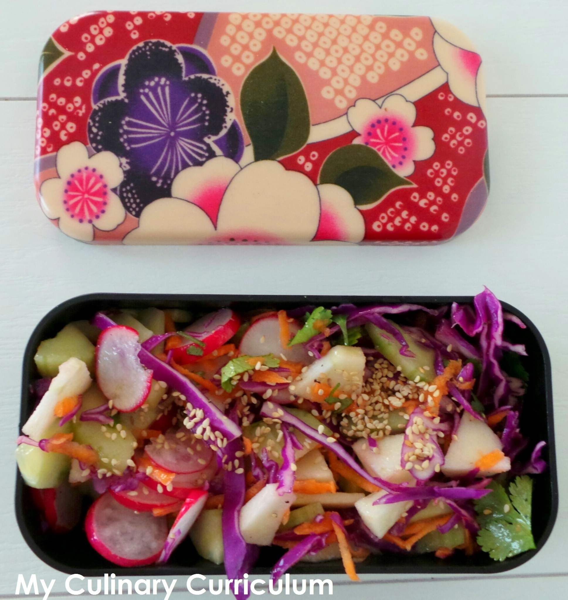 Bento de  salade chou rouge, pomme, concombre et radis (Bento of red cabbage salad, apple, cucumber and radish)