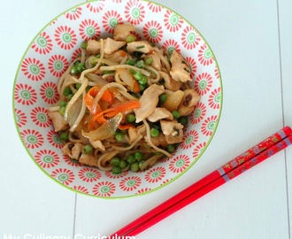 Nouilles chinoises sautées au poulet au wok sauce yakitori (Chinese fried noodles with chicken yakitori sauce cooked in wok)
