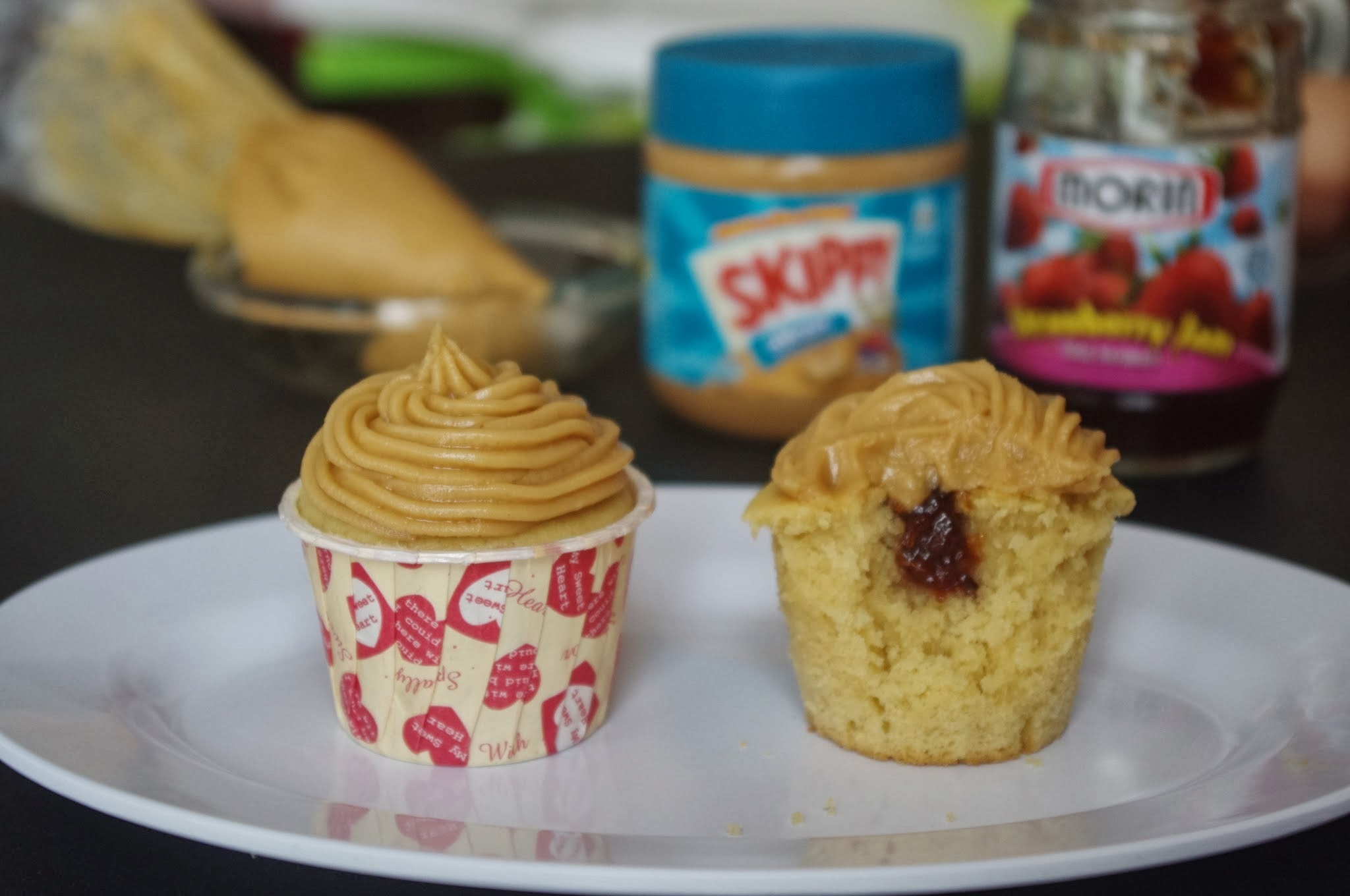 Buttermilk Cupcake with Peanut Butter Frosting & Jam