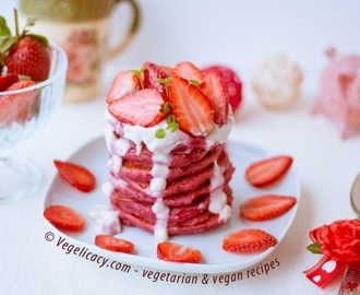 St Valentine's Day Pink Pancakes | Vegan recipe with photos