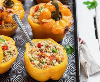 "Vegan Feed | Vegan Recipes on Instagram: ""Quinoa stuffed peppers by @nm_meiyee 🧡 Delicious roasted peppers stuffed with so much goodness! Get the recipe:  Recipe  Ingredients 6 bell…"""